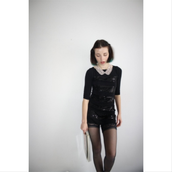 Dresses & Skirts - Sequin Striped Black Party Dress